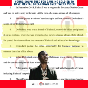 Young Dolph Sued For Causing Soldier To Have Mental Breakdown Over Twerk Video