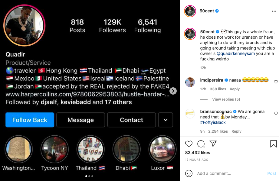 50 Cent blasts man for repping Branson Cognac on his behalf